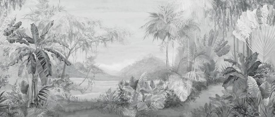 a033热带丛林风景背景墙手绘风景龟背竹芭蕉手绘